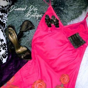 Express Coral Floral skinny strap dress